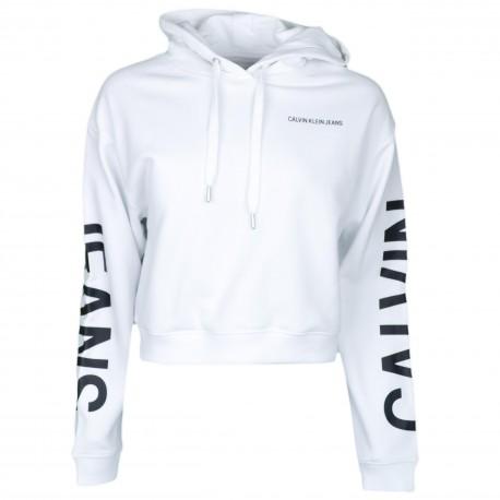 Sweat court à capuche Calvin Klein blanc pour femme