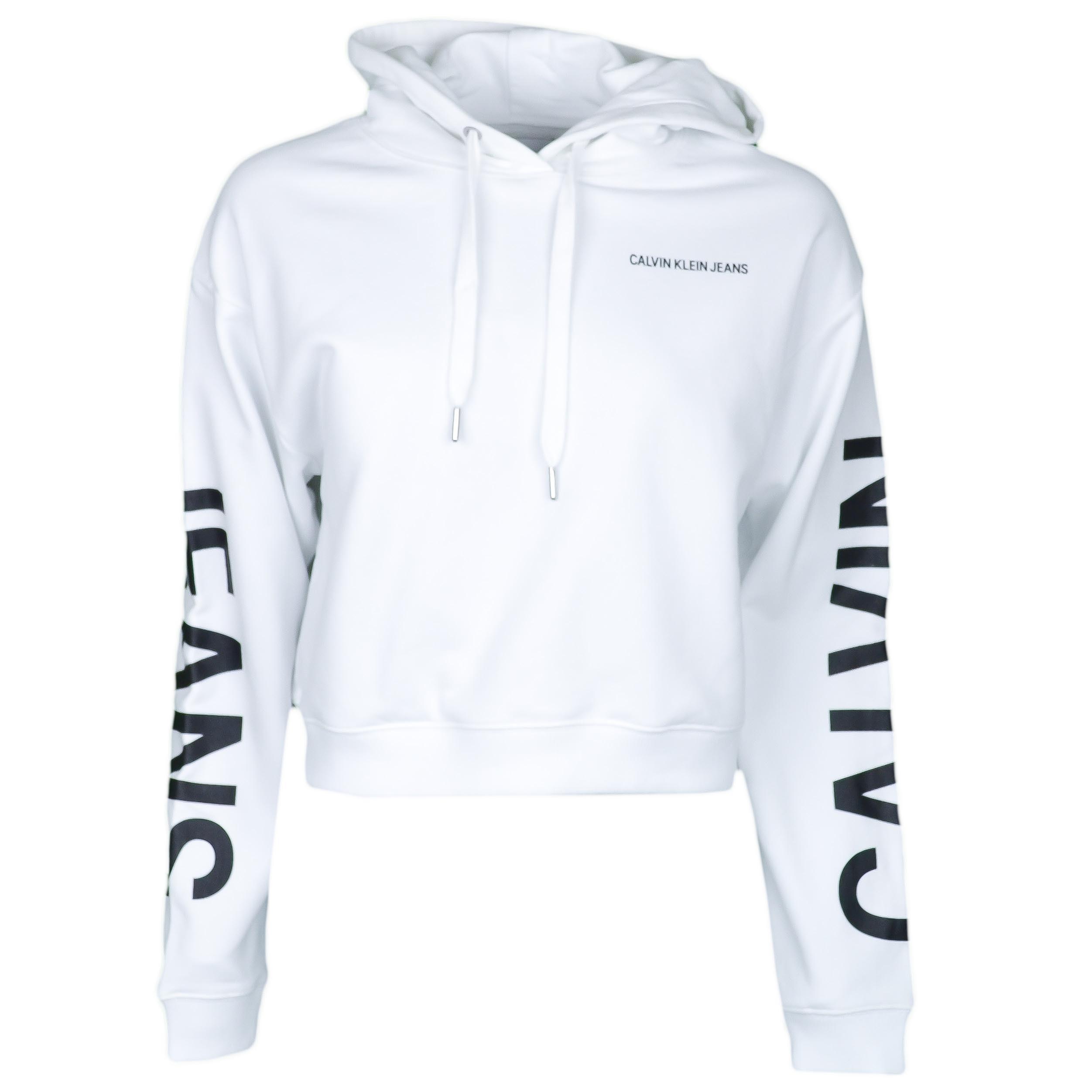 3d587bf8c86e7 Sweat court à capuche Calvin Klein blanc pour femme - Toujours au m...