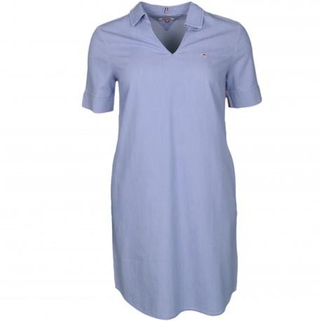 Robe dénim Tommy Jeans bleu avec bandes latérales arc-en-ciel pour femme