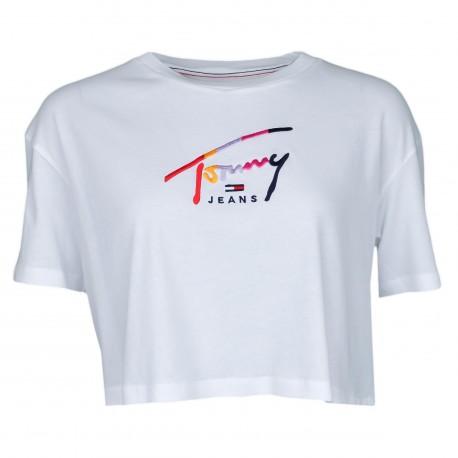 T-shirt court Tommy Jeans blanc à logo signature coloré pour femme