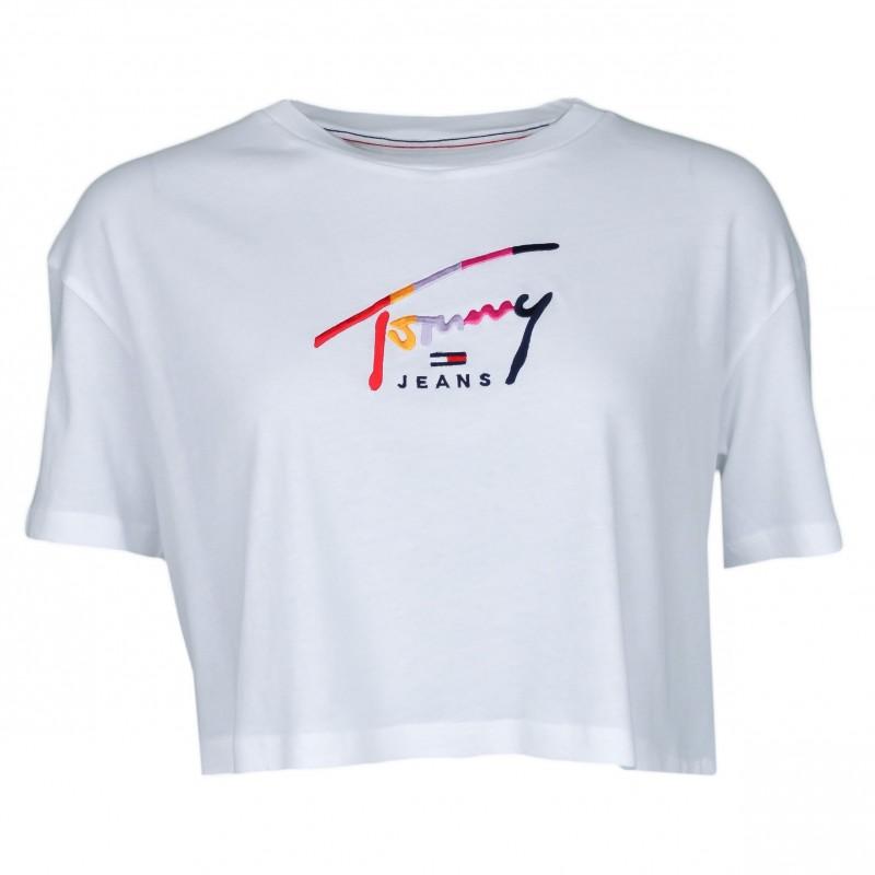 so cheap on feet shots of good texture T-shirt court Tommy Jeans blanc à logo signature coloré pour femme ...