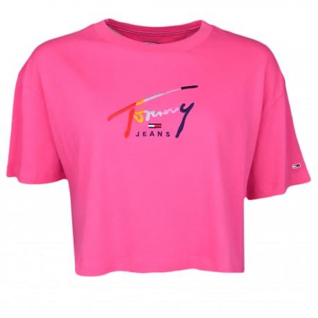 T-shirt court Tommy Jeans rose à logo signature coloré pour femme