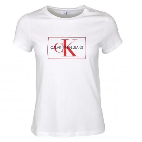 T-shirt Calvin Klein blanc logo rouge slim fit pour femme