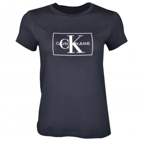 T-shirt col rond Calvin Klein noir logo blanc pour femme