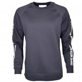 Sweat col rond Calvin Klein noir inscription manches pour femme
