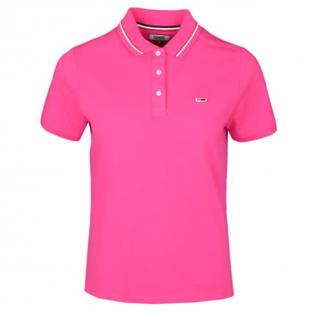 Polo ample Tommy Jeans rose pour femme