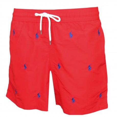 Short de bain Ralph Lauren rouge à motif poney bleu pour homme