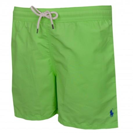 Short de bain Ralph Lauren vert pomme logo bleu pour homme