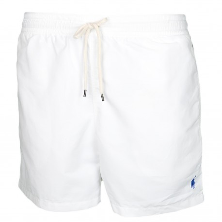 Short de bain Ralph Lauren blanc logo bleu pour homme