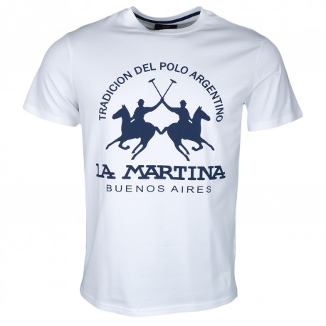 T-shirt col rond La Martina blanc gros logo bleu marine régular pour homme