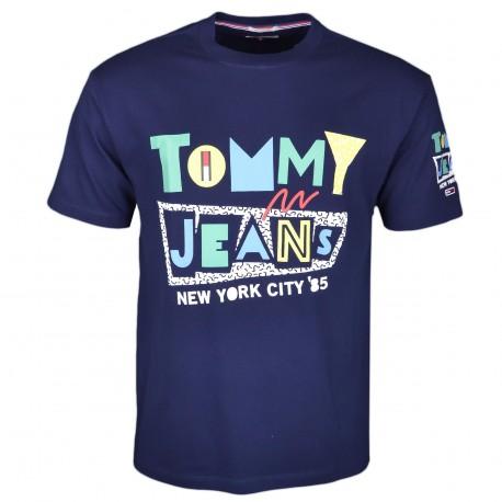 T-shirt col rond Tommy Jeans bleu marine à logo rétro coloré pour homme