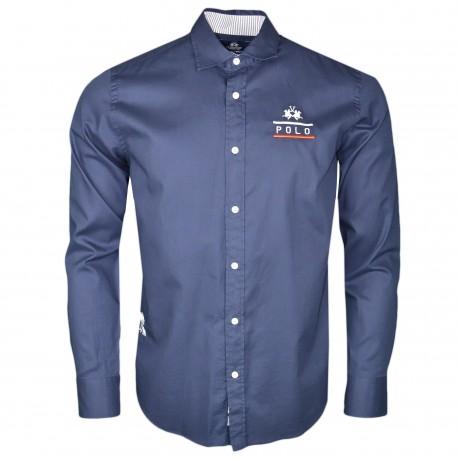 Chemise La Martina bleu marine Team 1985 régular pour homme