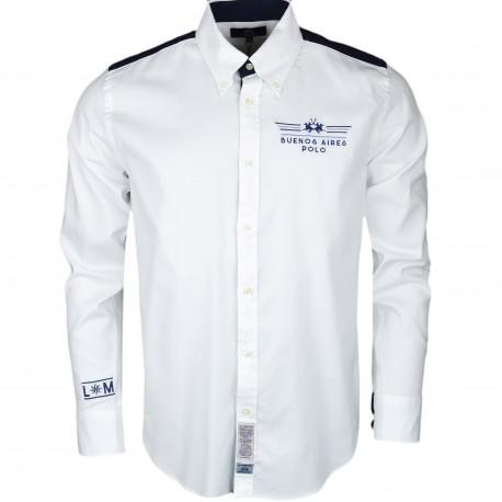 Chemise La Martina blanche et bleu marine Buenos Aires régular pour homme