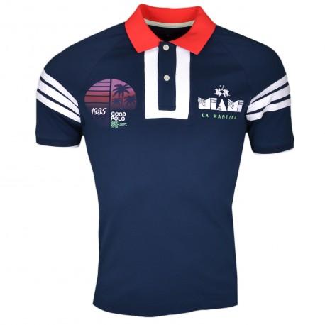 Polo La Martina bleu marine blanc et rouge Miami slim fit pour homme