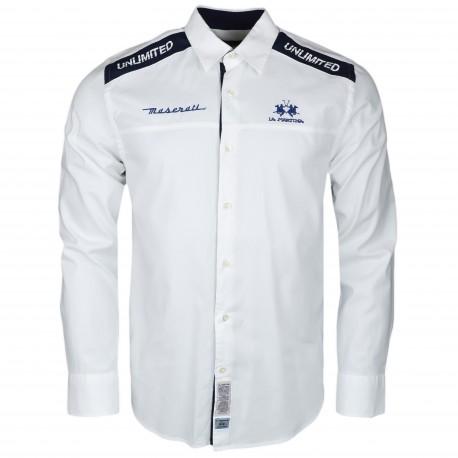 Chemise La Martina Maserati Blanche et bleu marine Performance Team régular fit pour homme