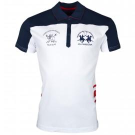 Polo La Martina blanc et bleu marine Cambridge University slim fit pour homme