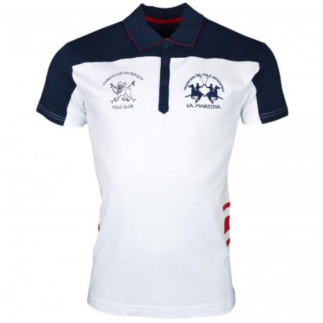 Polo La Martina blanc et bleu marine Cambridge University slim fit pour homme