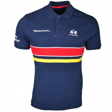 Polo La Martina Maserati bleu marine à bandes rouge et jaune régular pour homme