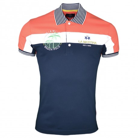 Polo La Martina bleu marine et orange Miami Beach slim fit pour homme