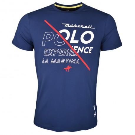 T-shirt col rond bleu marine Maserati Polo Experience régular pour homme