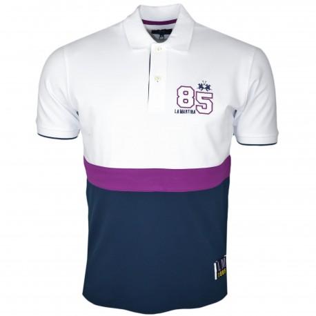 Polo La Martina blanc bleu marine et violet University 85 régular pour homme