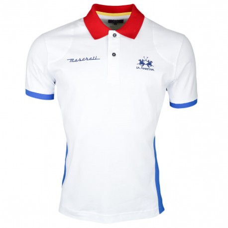 Polo La Martina blanc bleu et rouge Maserati Performance Team régular pour homme