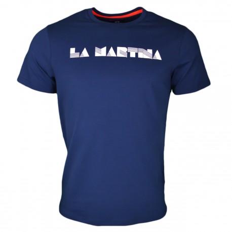 T-shirt col rond La Martina bleu marine Miami Beach régular pour homme