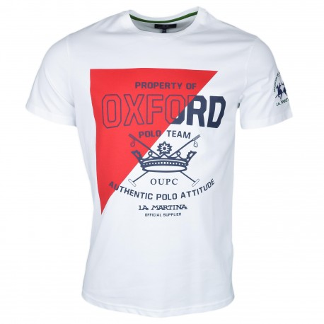 T-shirt col rond La Martina blanc et rouge Oxford Polo Team régular pour homme
