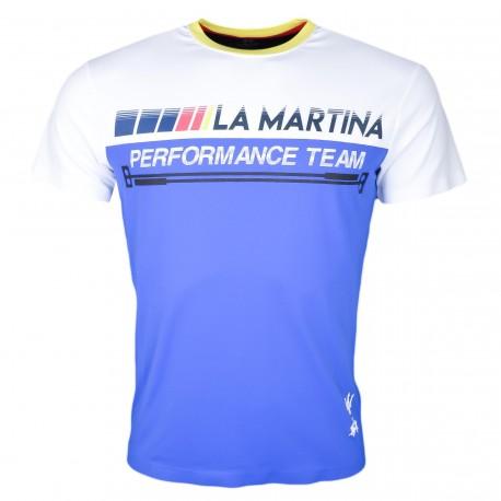 T-shirt col rond La Martina bleu blanc et noir Performance Team régular pour homme