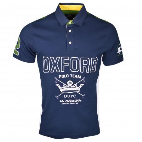 Polo La Martina bleu marine vert et blanc Oxford Polo Team régualr pour homme