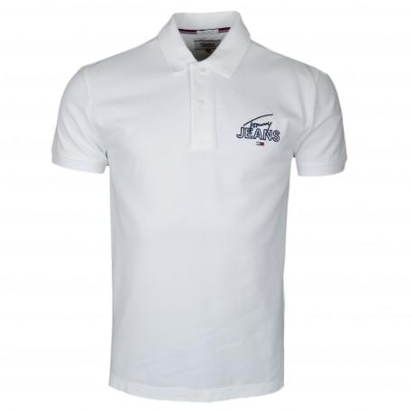 Polo Tommy Jeans blanc avec logo signature en piqué régular fit pour homme