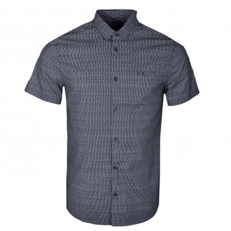 Chemise manches courtes Armani Exchange noire à motif pointillé pour homme