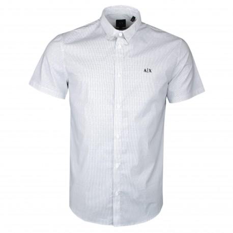 Chemise manches courtes Armani Exchange blanche à motif pointillé pour homme