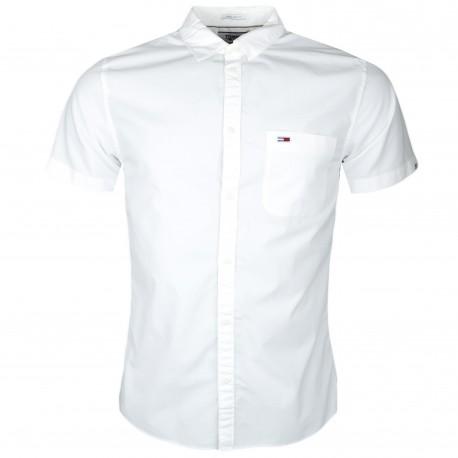 Chemise manches courtes Tommy Jeans blanche régular fit pour homme