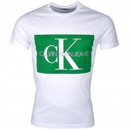 T-shirt col rond Calvin Klein bleu marine à carré blanc pour homme