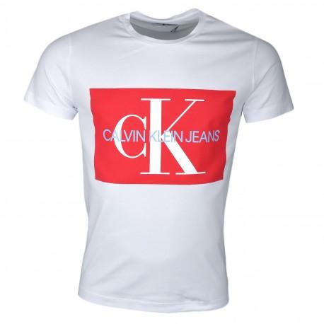 T-shirt col rond Calvin Klein blanc avec carré rouge pour homme