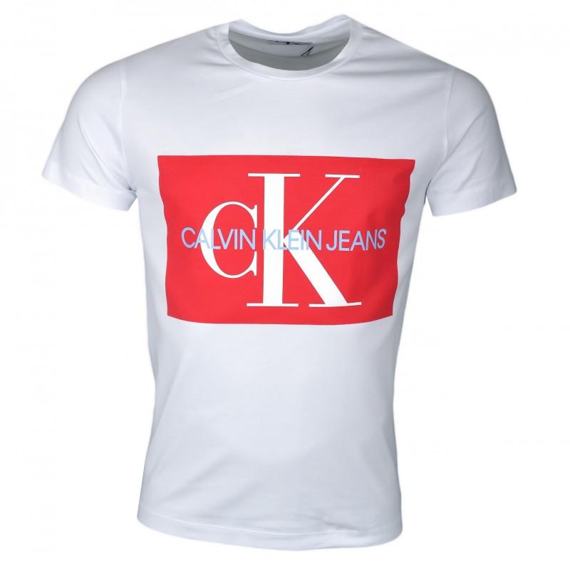 T Col Blanc Rouge Calvin Pour Carré Shirt Rond Homme Klein Avec b6vYf7gy