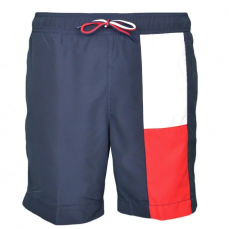 Short de bain Tommy Hilfiger bleu marine à drapeau longiligne pour homme