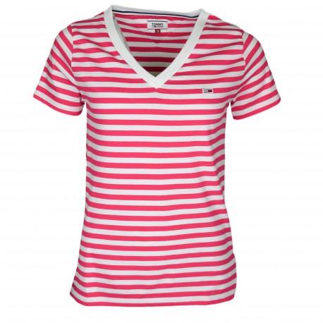 T-shirt col V Tommy Jeans rayé rose et blanc pour femme