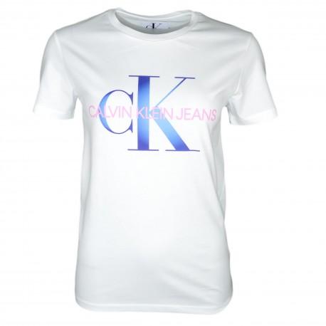 T-shirt col rond Calvin Klein blanc avec logo bleu en dégradé pour femme