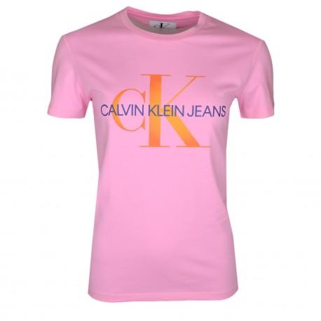 T-shirt col rond Calvin Klein rose avec logo orange dégradé pour femme