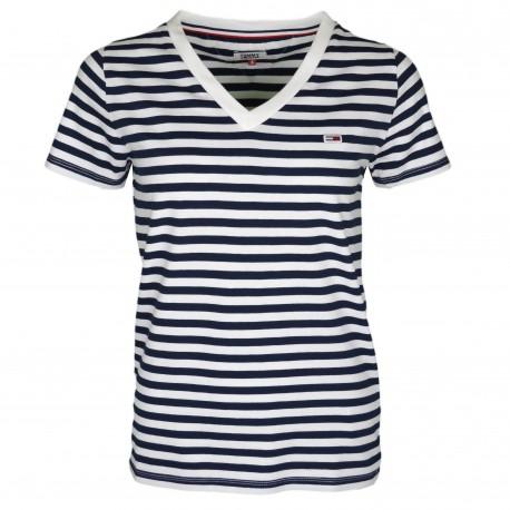 T-shirt col V Tommy Jeans à rayures bleu marine et blanc pour femme