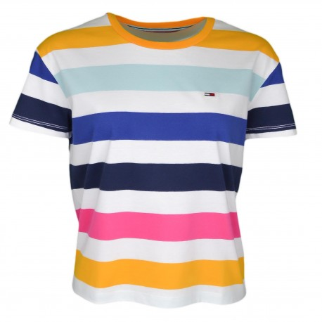T-shirt col rond Tommy Jeans à rayures multicolore pour femme