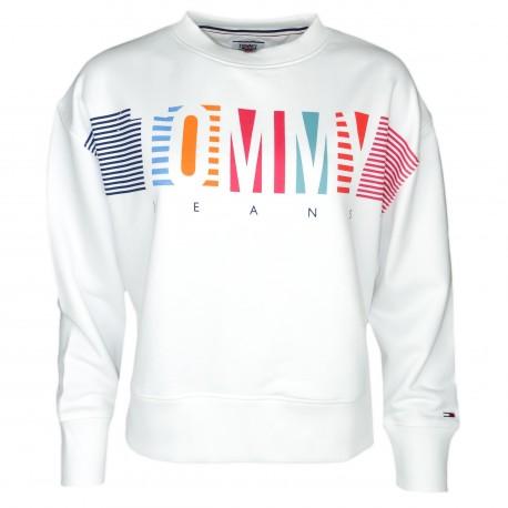 Sweat Tommy Jeans blanc à logo graphique coloré pour homme
