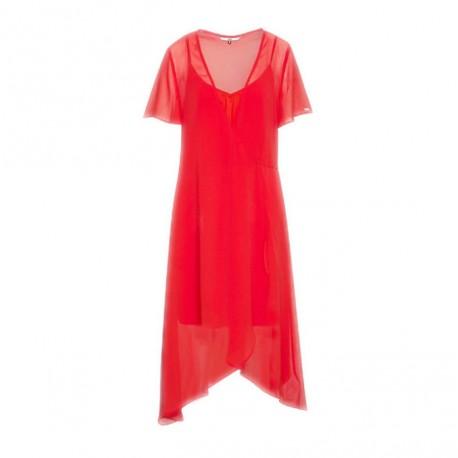 Robe-cache-coeur Tommy Jeans rouge en mousseline pour femme