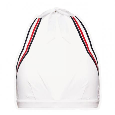 Haut de bikini Tommy Hilfiger blanc à bande emblématique pour femme