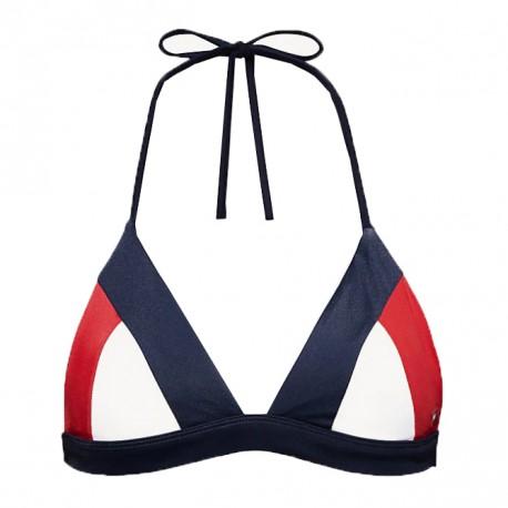Haut de bikini Tommy Hilifiger blau marine rouge et blanc triangle pour femme