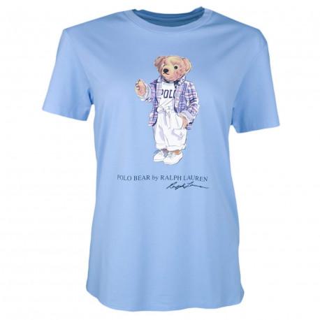 T-shirt col rond Ralph Lauren bleu ciel Teddy Bear décontracté pour femme