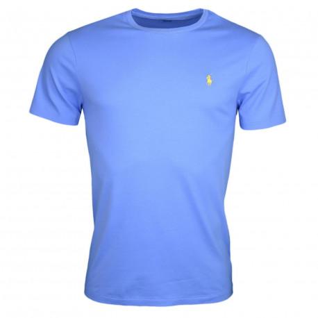 T-shirt col rond Ralph Lauren bleu ciel logo jaune coupe droite pour homme