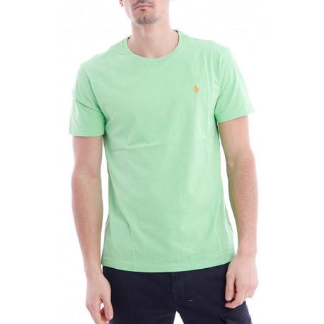 T-shirt col rond Ralph Lauren vert pomme logo orange coupe droite pour homme